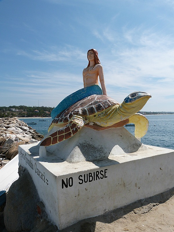 Mermaid statue in Puerto Escondido, Mexico