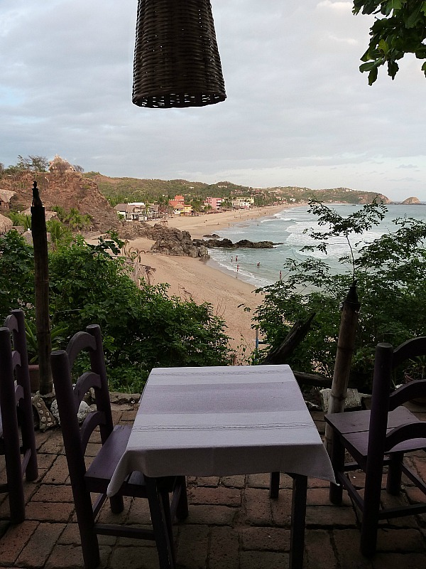 View over Zipolite beach on the Pacific Coast of Mexico