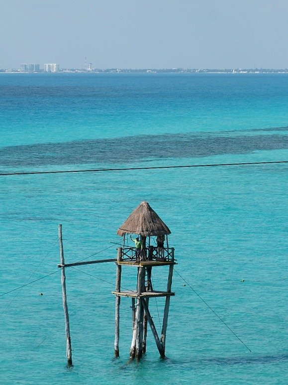 Zipline over the water in Isla Mujeres, Yucatan Peninsula, Mexico