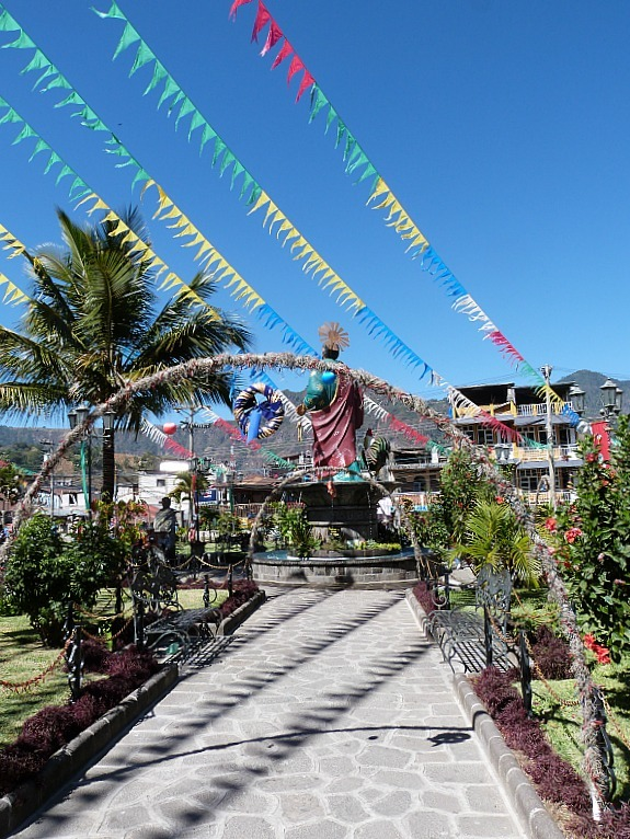 San Pedro Town Square, one of the towns of Lake Atitlan in Guatemala