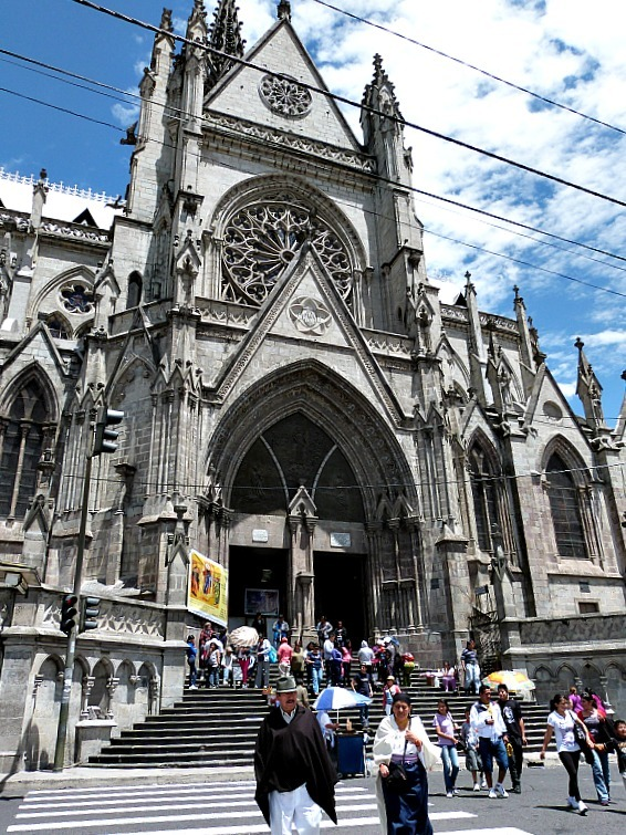Cathedral in Old Town in Quito, Ecuador