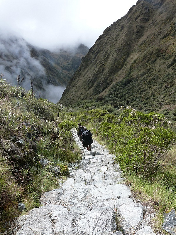 Heading down from Dead Women's Pass on day two of the Inca Trail in Peru