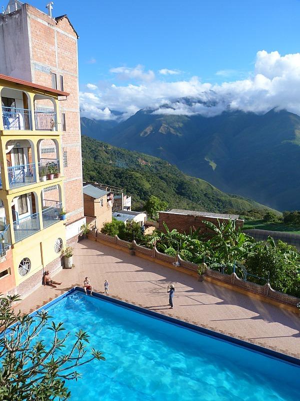 Our beautiful hotel pool in Coroico, Bolivia
