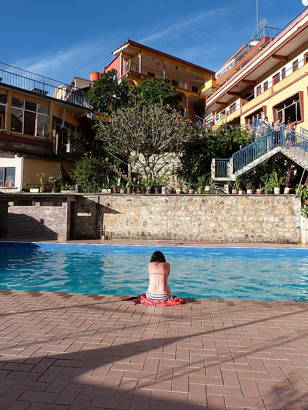 Our hotel pool in Coroico, Bolivia