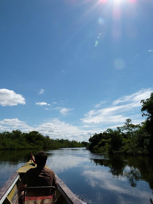 Long boat in the Amazon Basin of Bolivia