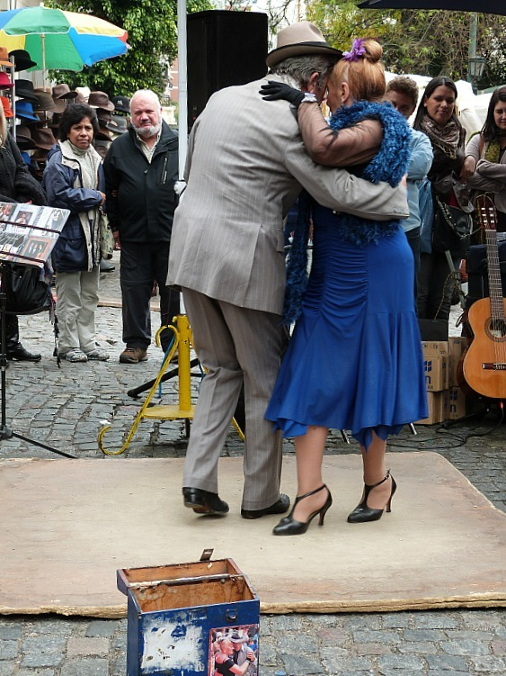 Tango dancers at the San Telmo Market in Buenos Aires