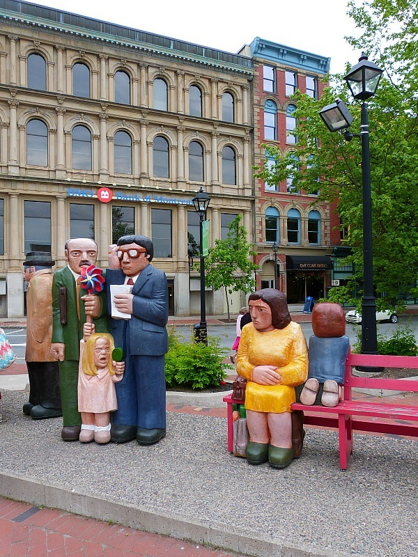 Statues in a square in downtown Saint Johns, New Brunswick