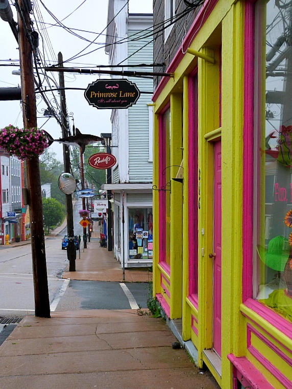 Colorful shops in downtown Lunenburg in Nova Scotia