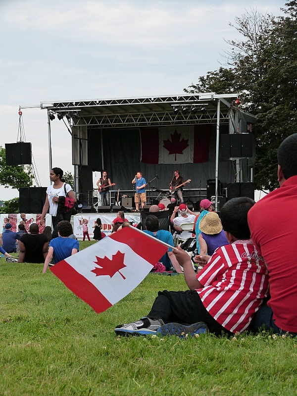 Watching the bands at the Canada Day celebration in Charlottetown on Prince Edward Island