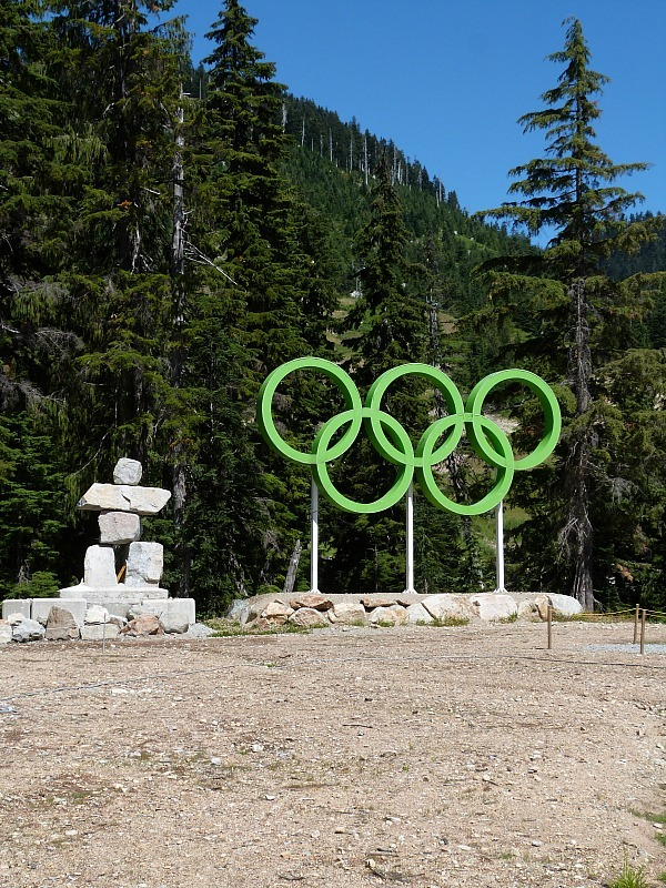 Olympic rings and Inukshuk at Cypress Mountain in North Vancouver, Canada