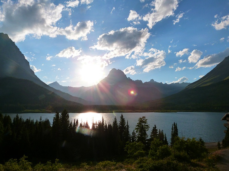 View from Many Glacier Hotel in Glacier National Park in Montana - a Rocky Mountain Road Trip must