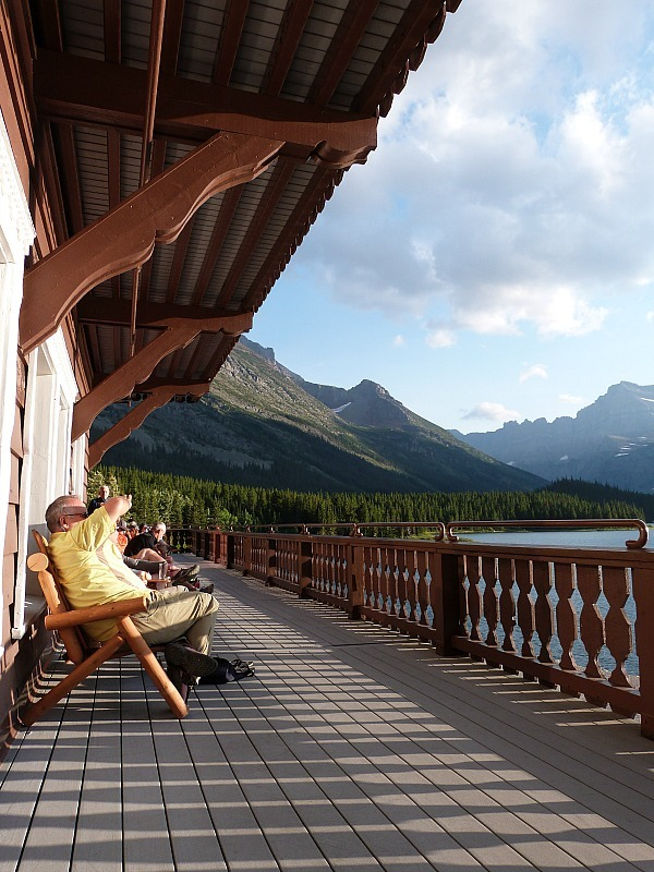 Deck of Many Glacier Hotel in Glacier National Park in Montana - a Rocky Mountain Road Trip must