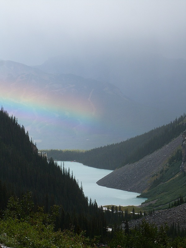 View over Lake Louise from the Plain of Six Glaciers hike in Banff National Park, Canada - a Rocky Mountain Road Trip must