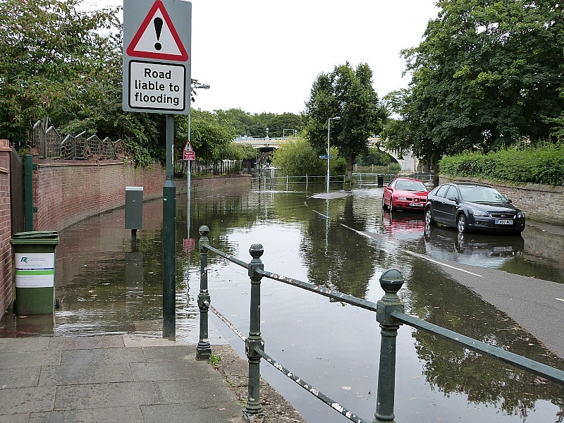 Flooding roads in Richmond, London