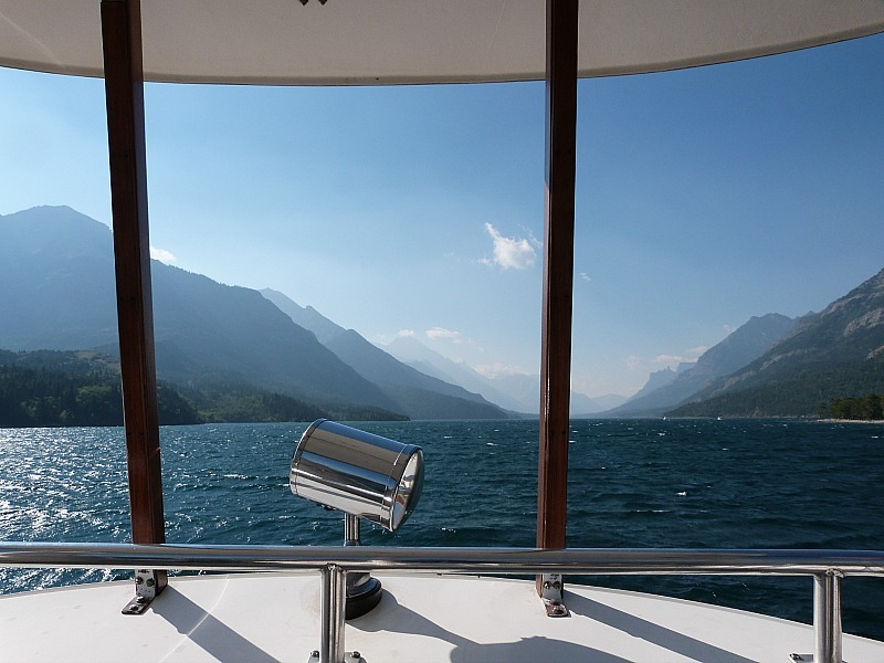 Boat over Waterton Lake to start of Crypt Lake trail during our Canada on a Budget adventure