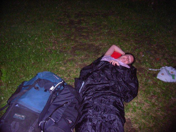 Sleeping in a park in Cesky Krumlov in the Czech Republic
