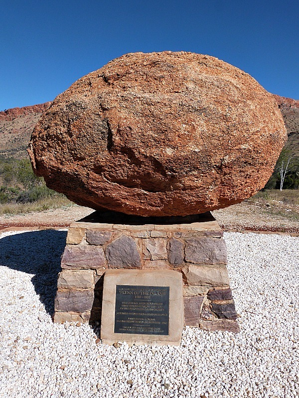 Boulder marked grave of Rev. John Flynn in the MacDonnell Ranges near Alice Springs