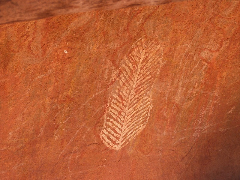 Aboriginal Rock drawings at Uluru in the Australian Outback