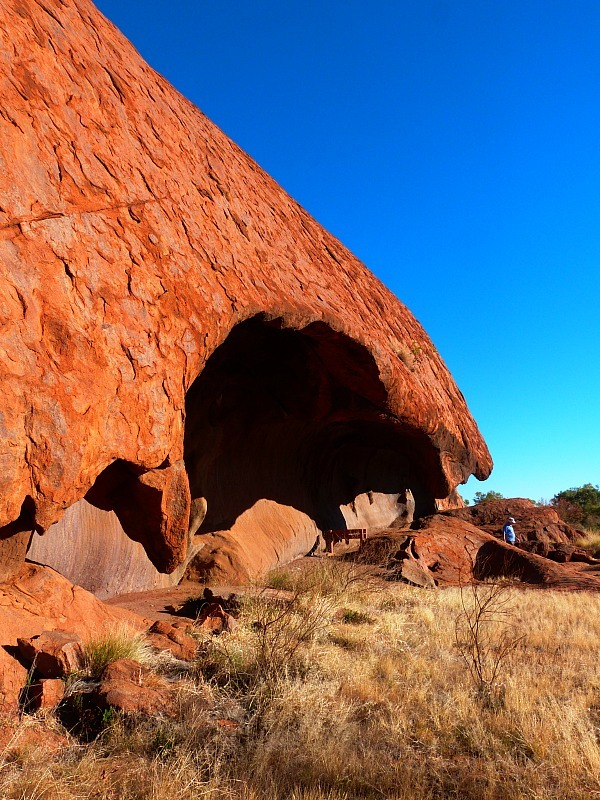 Hiking the base walk around Uluru in the Australian Outback