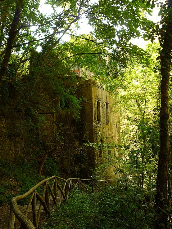 Hiking past old mill ruins on the Amalfi Coast in Italy