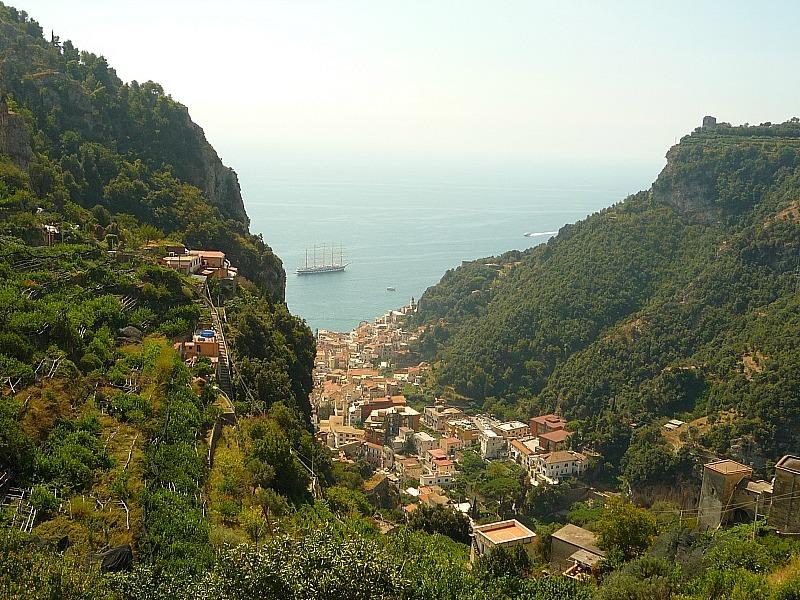 Sea views from Pontone on the Amalfi Coast of Italy