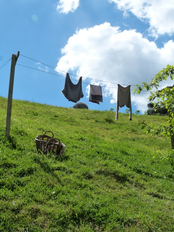 Hobbit laundry hung out at Hobbiton New Zealand