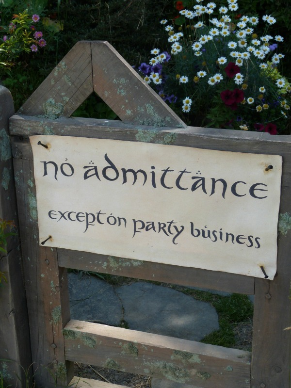 Party sign at Bag End at Hobbiton New Zealand