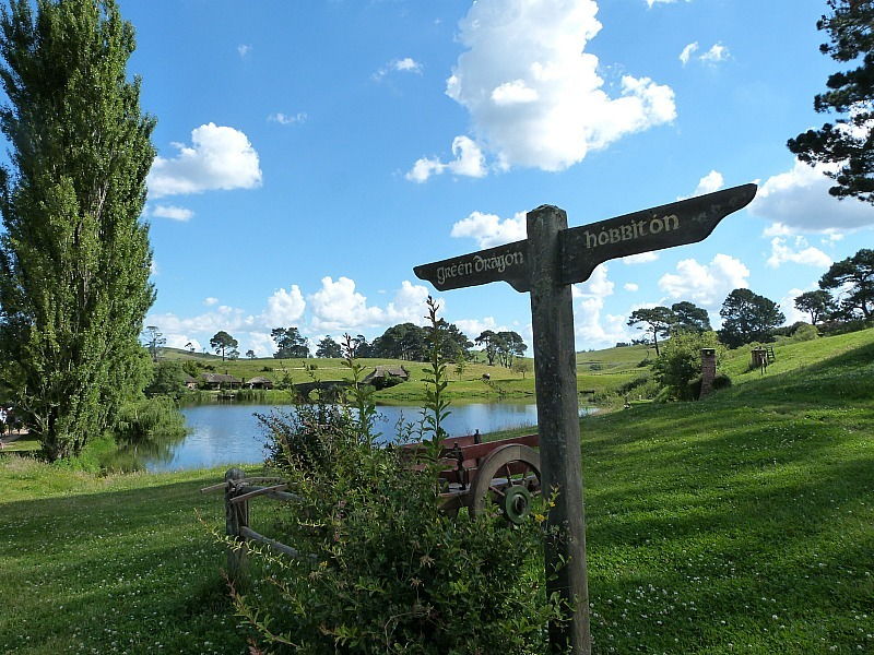 Beautiful countryside at Hobbiton, New Zealand