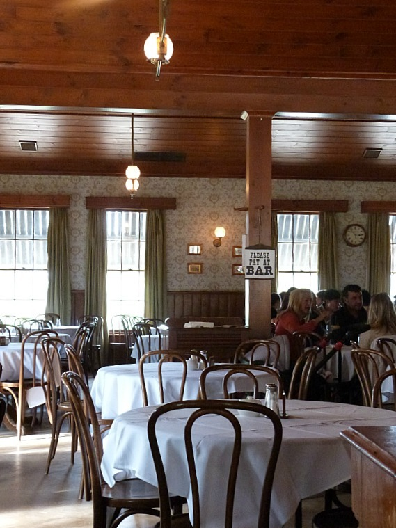 An old time themed restaurant at Sovereign Hill serves up old-fashioned lunches