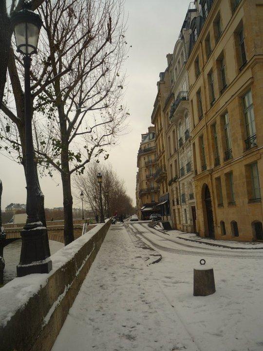 Snowy Paris by the Seine