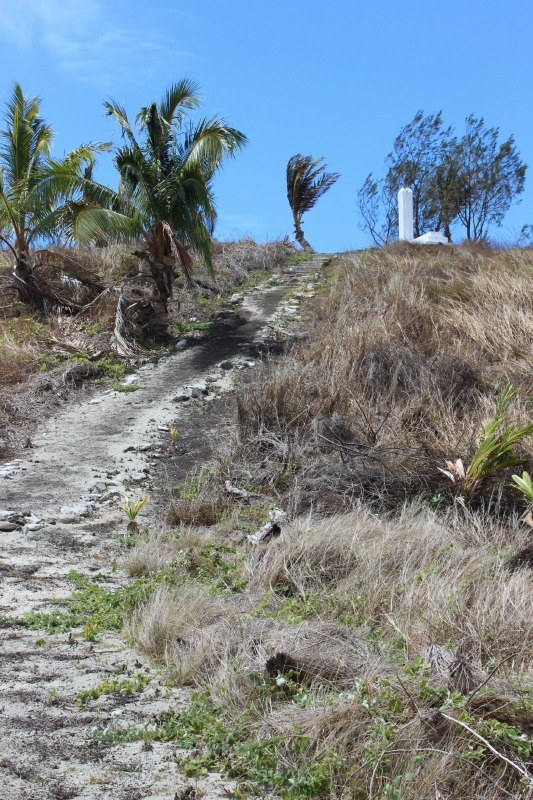 Hiking to a viewpoint on Nacula Island in the Yasawa Islands of Fiji