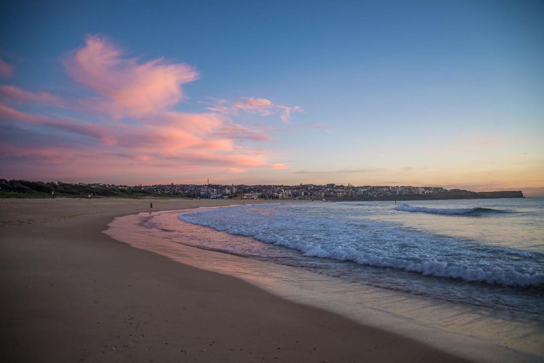 Maroubra Beach in Sydney at sunset
