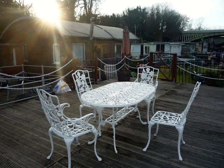 Our roof top deck on our London houseboat