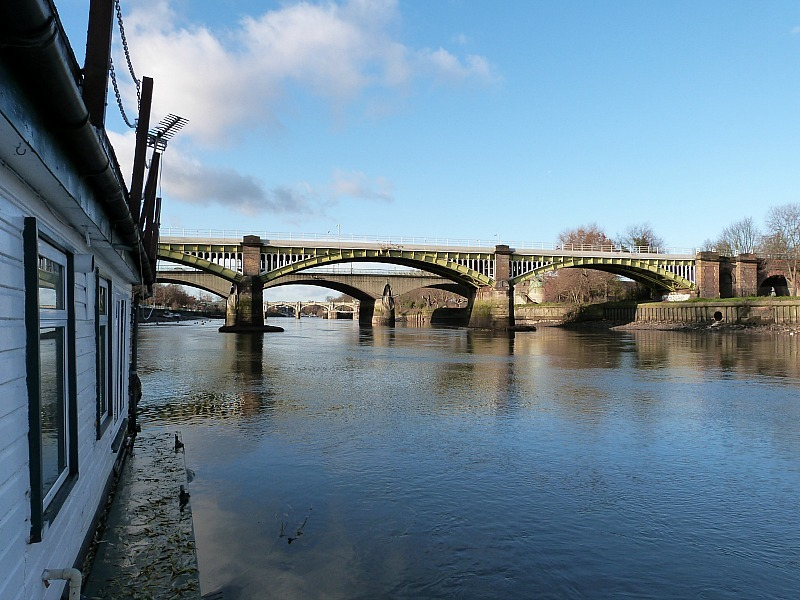 View of Twickenham bridge from our houseboat in London