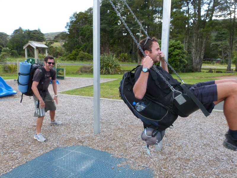 Having some fun in Huia before starting the Hillary Trail