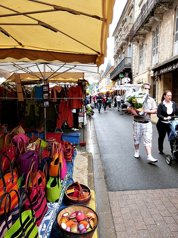 Discovering a market in St Cyprien in the Dordogne Region of France