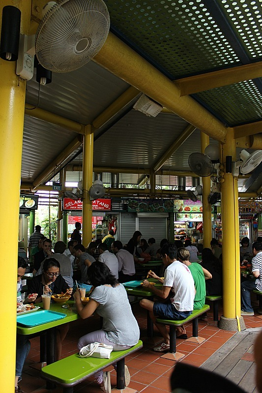 Eating at food halls in Singapore