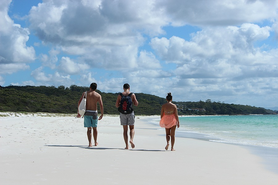 Walking along Hyams Beach