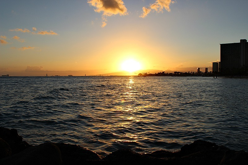Fort DeRussy sunset in Waikiki, Hawaii