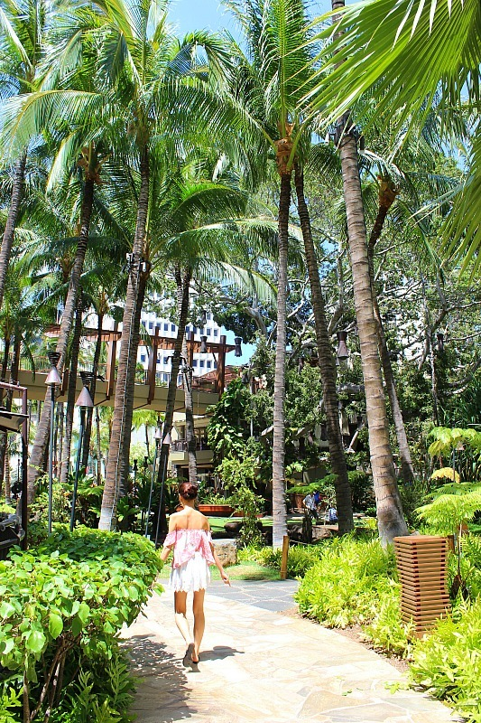 Visit the lush grounds of Royal Hawaiian Hotel - one of the best things to do in Waikiki away from the crowds