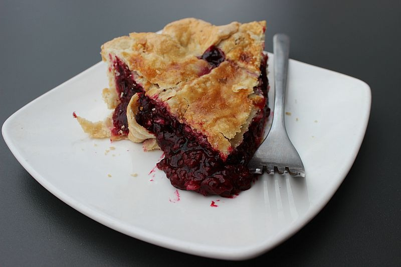 Marionberry and hazelnut pie