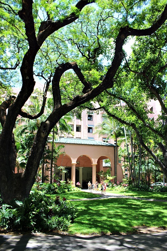 Explore the grounds of The Royal Hawaiian Hotel in Waikiki, one of the things to do in Waikiki to escape the crowds