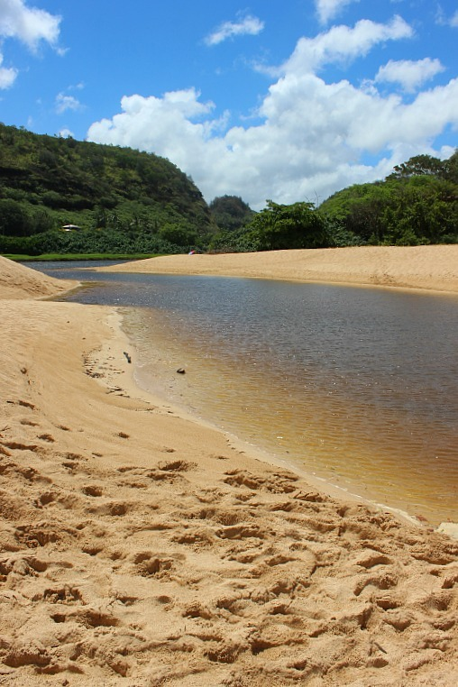 Waimea Bay river on the North Shore of Oahu, Hawaii