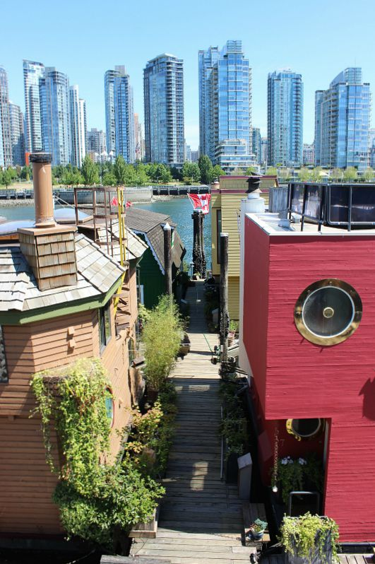 Checking out the Granville Island houseboats during summer in Vancouver