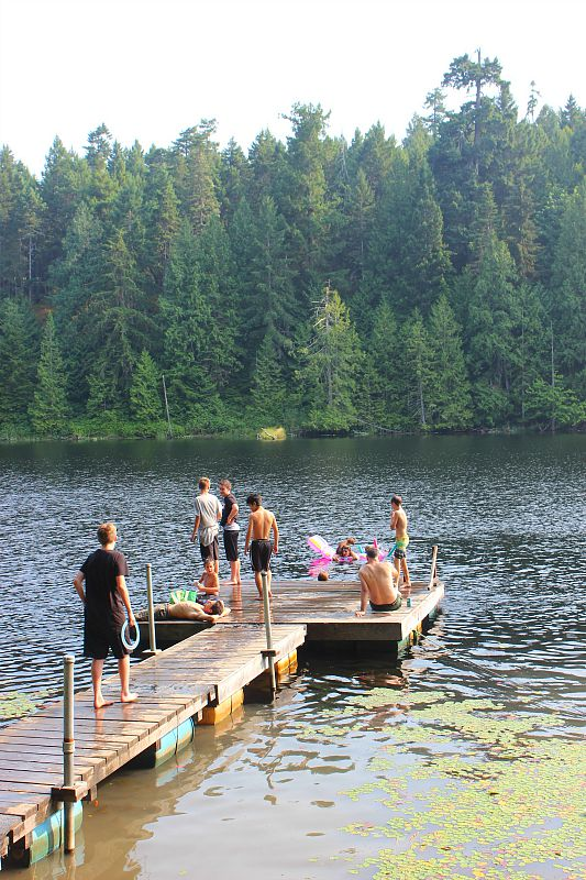 Swimming dock at Graham Lake on Denman Island, Canada