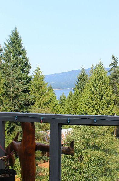 View from the deck over to Hornby Island from Denman Island, Canada
