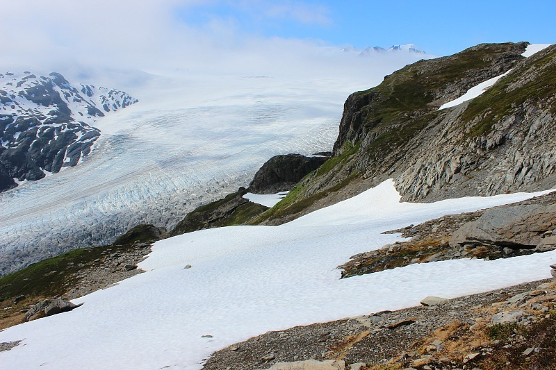 Glimpses of the Harding Icefield in Alaska