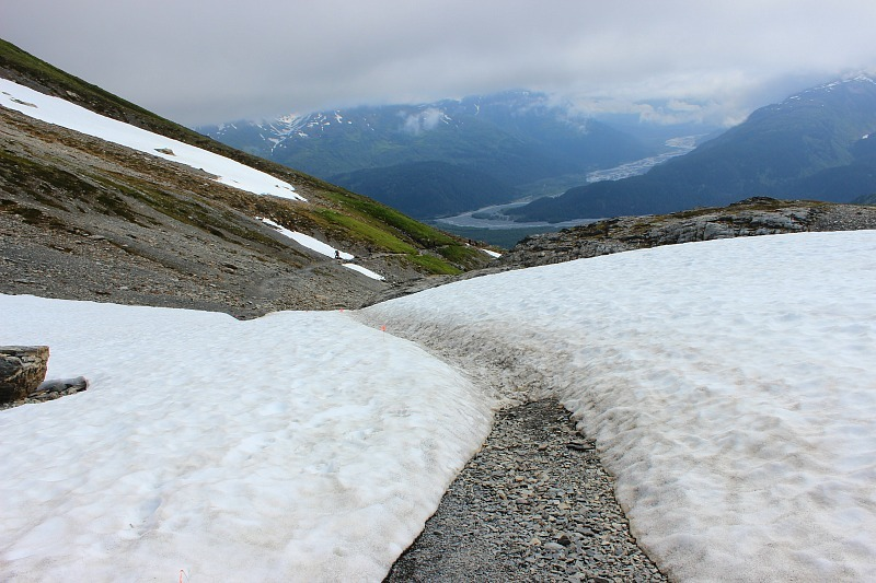Slippery path through the snow on the Harding Icefield trail