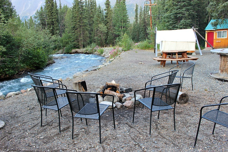 Social area outside at Denali Mountain Morning Hostel