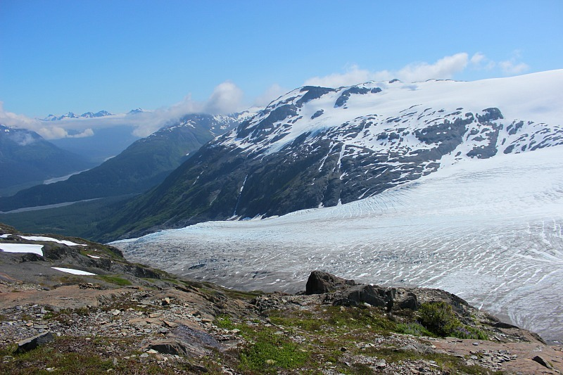 Top of Exit Glacier at the end of the Harding Icefield trail in Alaska